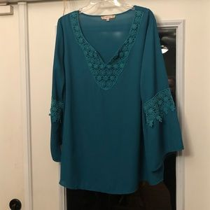 Stunning Teal Tunic with Bell Sleeves  Lace Detail